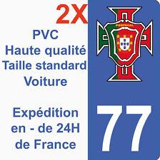 Sticker Autocollant immatriculation Département 77 Portugal FPF Seine et Marne
