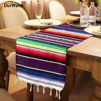 Mexican Serape Table Runner Tassel Tablecloth Cover Wedding Party Home Decor