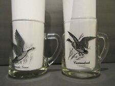 "Canada Goose & Canvasback Set of 2 GLASS MUG~STEINS-41/2"" TALL ~ HOLDS 14 OUNCES"