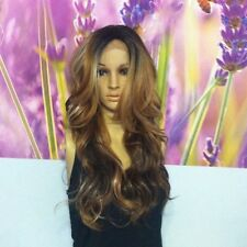 Ombre Mixed Brown with  Blonde highlights  Lace Front wig 23' heat resistant.