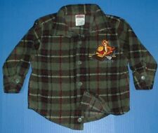 The Disney Store POOH Tigger Green Black Plaid Heavyweight Fleece Jacket 24M