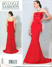 VOGUE SEWING PATTERN 1533 MISSES 6-14 BELLVILLE SASSOON STRAPLESS DRESS W/ TRAIN