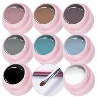 9pcs/set UV Gel Polish Nail Art Grey Color Gel & Paint Drawing UV Gel Brush Kit