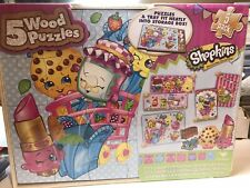 New Shopkins 5 Wood Puzzles Set Storage Box Toy Game Cardinal Factory Sealed