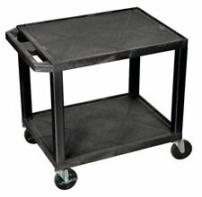 Luxor Wt26 Thermoplastic Resin Utility Cart With Lipped Plastic Shelves Flat