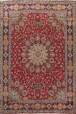 Vintage Floral Tebriz Hang-Knotted Area Rug 9x13 Red Traditional Oriental Carpet