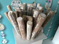 BEACH INSPIRED DRIFT WOOD TEALIGHT HOLDER STANDING WOOD CANDLE HOLDER NEW
