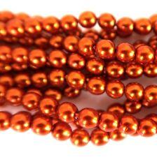 Arancione Bruciato 4mm Rotondo Perla Vetro Ceco Lucidato Perline x 25