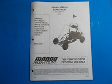 1998 Manco Machine Offroad Vehicle Model 415-311 416-361 Operators Supplement