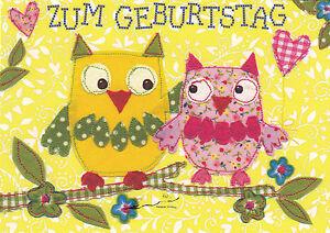 Kunstkarte/ Postcard Art - Carola Pabst: Zum Geburtstag - Zwei Eulen auf dem Ast