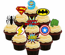 9th Birthday Superhero Edible Cup Cake Toppers, 36 Stand-up Bun Decorations Boy