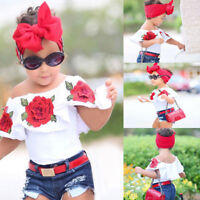 Toddler Kids Baby Girls Off Shoulder 3D Rose Flore Blouse Tops Outfits Clothes