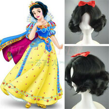Snow White Black Short Curly CosPlay Wig WoMen Hair Wigs + Hair Accessories Gift