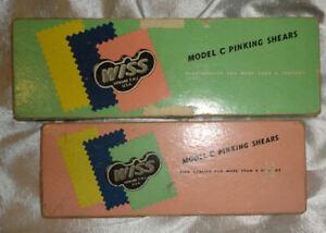 """Vintage WISS Steel Pinking Shears, 2 Pair, Black Handles, 7 1/2"""", 9"""", in Box"""