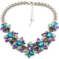 Fashion Women Crystal Pendant Chain Silver Plated Bib Statement Choker Necklace