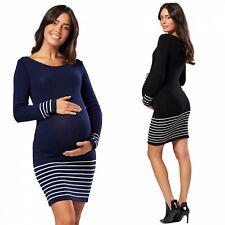 Zeta Ville Women's Maternity Knitted Midi Jumper Dress Long Sleeves 050