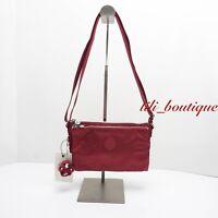 NWT New Kipling KI0553 Mikaela Crossbody Shoulder Bag Polyamide Nylon Red $54