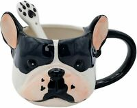 3D Hand Painted Dog Coffee Tea Ceramic Mug w/ Spoon Cute Dog Lover Pet Gift