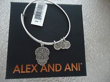 Alex and Ani CALAVERA Rafaelian Silver Finish Charm Bangle New W/Tag Card & Box
