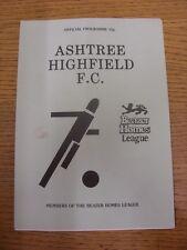 09/03/1988 Ashtree Highfield v Nuneaton Borough  (Folded). Footy Progs/Bobfranka