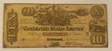 Very Scarce 1861 Confederate $10 Note T-29