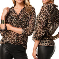 Women's Casual Leopard Print Blouse Long Sleeve Button Down Chiffon T-Shirt Top