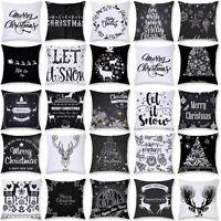 Schwarz Weiß Weihnachten Muster Kissenbezug Kissenhülle Dekokissen Case 45x45cm