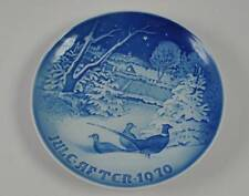 B&G Bing Grondahl Plate Porcelain Denmark Blue White Pheasants In Snow 1970 Y9