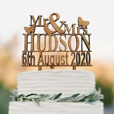 Personalised Wedding Cake Topper Mr & Mrs Table Decoration Favour Rustic Wood