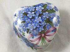 Fielder Keepsakes England Porcelain Heart Trinket Box Forget Me Not Flowers