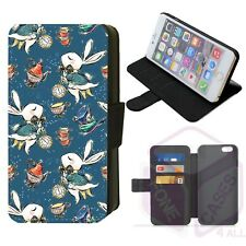 iPhone/Galaxy Faux Leather Printed Flip Phone Case Wonderland Whimsical Design F