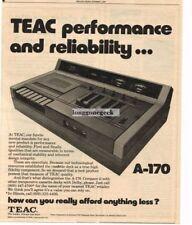 1976 Teac A-170 Cassette Deck Stereo Hi-Fi Vtg Print Ad