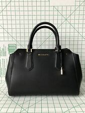 NWT Michael Kors Hayes Large Leather Satchel Bag Black Crossbody Purse