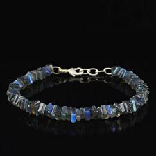 Genuine 73.00 Cts Earth Mined Untreated Blue Flash Labradorite Beads Bracelet