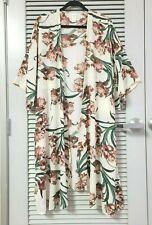 ivory/ pink floral midi kimono open cardigan 1XL w/ anthropologie earrings