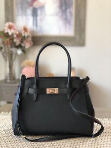 New Kate Spade Lucia Medium Satchel Bag Handbag Crossbody Black Leather Gold