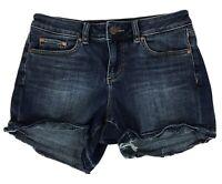 Vince Camuto Womens Sz 26/2 Blue Denim Jean Shorts Frayed Stretch 4-Inch Inseam
