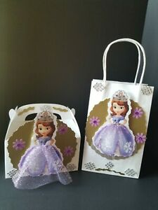 Sofia the first inspired Disney girl birthday party 12 goody bags or 10 boxes.