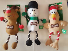 Crufts Christmas Chicken Reindeer Snowman De-Stress Pet Toy Ropes and Squeaker