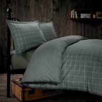 Melange 100% Brushed Cotton Flannelette Woven Check Grey Duvet Cover Set Bedding