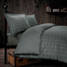 Melange 100% Brushed Cotton Flannelette Woven Check Grey Duvet Cover Set Bedding