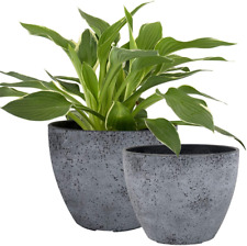 Flower Pots Outdoor Indoor Garden Planters, Plant Containers with Drain Hole, +