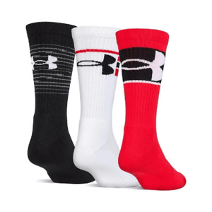 Under Armour UA TRAINING Youth Crew Socks 3 Pack YMD Medium Black Red White New