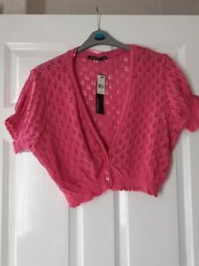 Ladies ATMOSPHERE pink shrug type cardigan, size 18,new with tags,crochet type