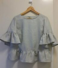 NEW Pure linen grey top with ruffle , size 12-14