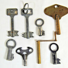 Clock Keys Eight (8) Antique Assorted Iron Winding Steampunk Mantel Parts Repair
