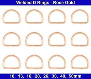 Welded D RINGS - 10mm, 13mm, 16mm, 20mm, 26mm, 30mm, 40mm, 50mm - Rose Gold