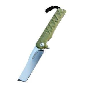 Tanto Folding Knife Pocket Flipper Hunting Survival 14C28N Steel Micarta Handle