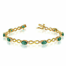 14k Yellow Gold Diamond and Emerald Oval Bracelet
