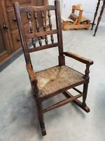 Antique Early 19th C. Spindle Back Rush Bottom Child's Rocking Chair